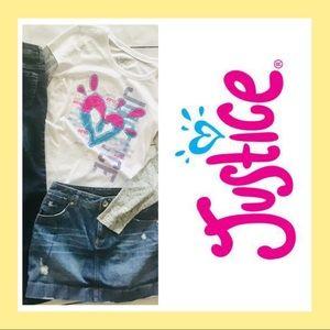 Justice girls 12 outfit bundle jeans skort top R07